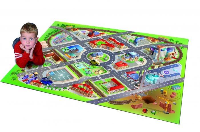 Různobarevný dětský kusový hrací koberec - délka 150 cm a šířka 100 cm