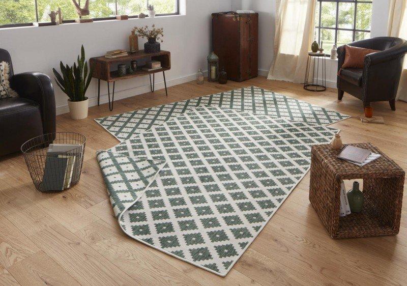 Zelený kusový koberec Twin-Wendeteppiche