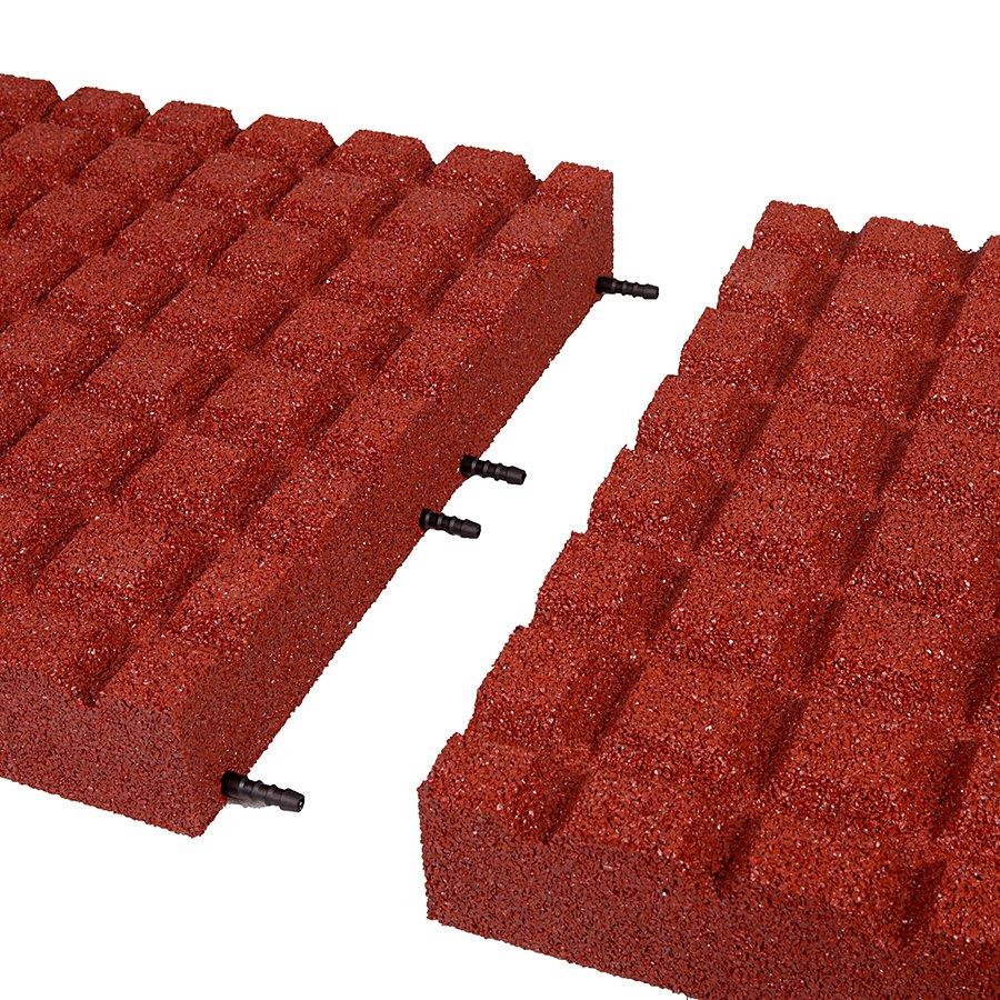 Červená gumová dlaždice (V80/R15) - délka 50 cm, šířka 50 cm a výška 8 cm