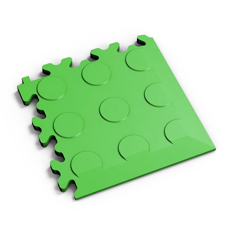 Zelený vinylový plastový rohový nájezd Fortelock 2046 (penízky) - délka 14 cm, šířka 14 cm a výška 0,7 cm