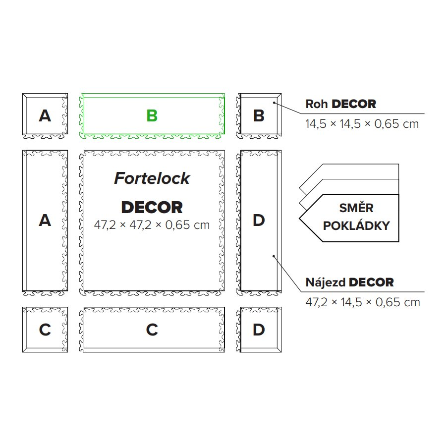 "Béžový PVC vinylový nájezd ""typ B"" Fortelock Decor Business - délka 47,2 cm, šířka 14,5 cm a výška 0,65 cm"