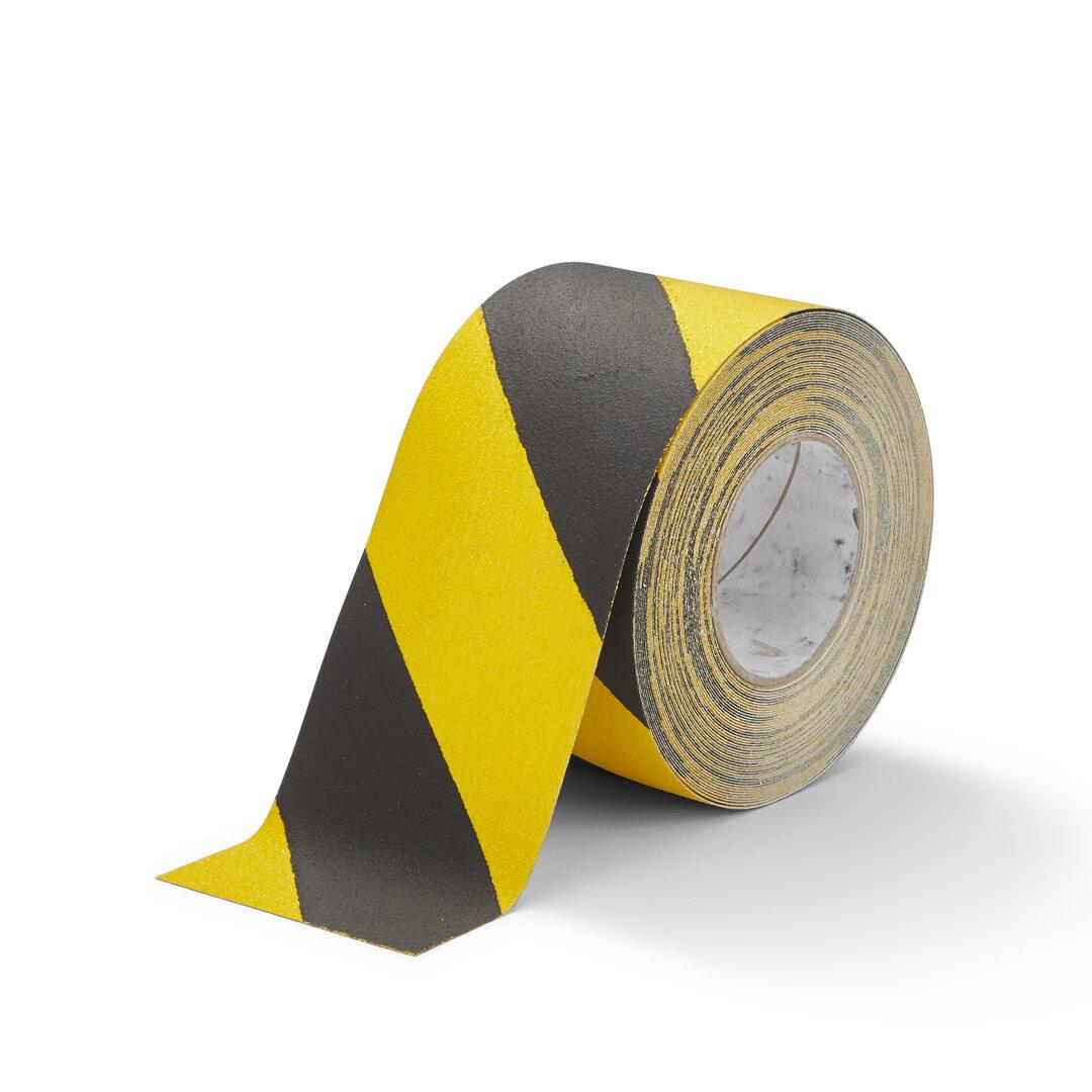 Černo-žlutá korundová snímatelná protiskluzová páska FLOMA Hazard Standard Removable - délka 18,3 m a šířka 10 cm