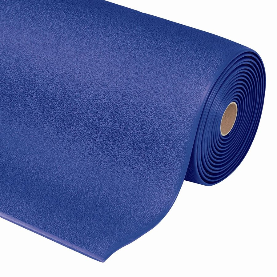 Modrá metrážová protiúnavová průmyslová rohož - výška 0,94 cm