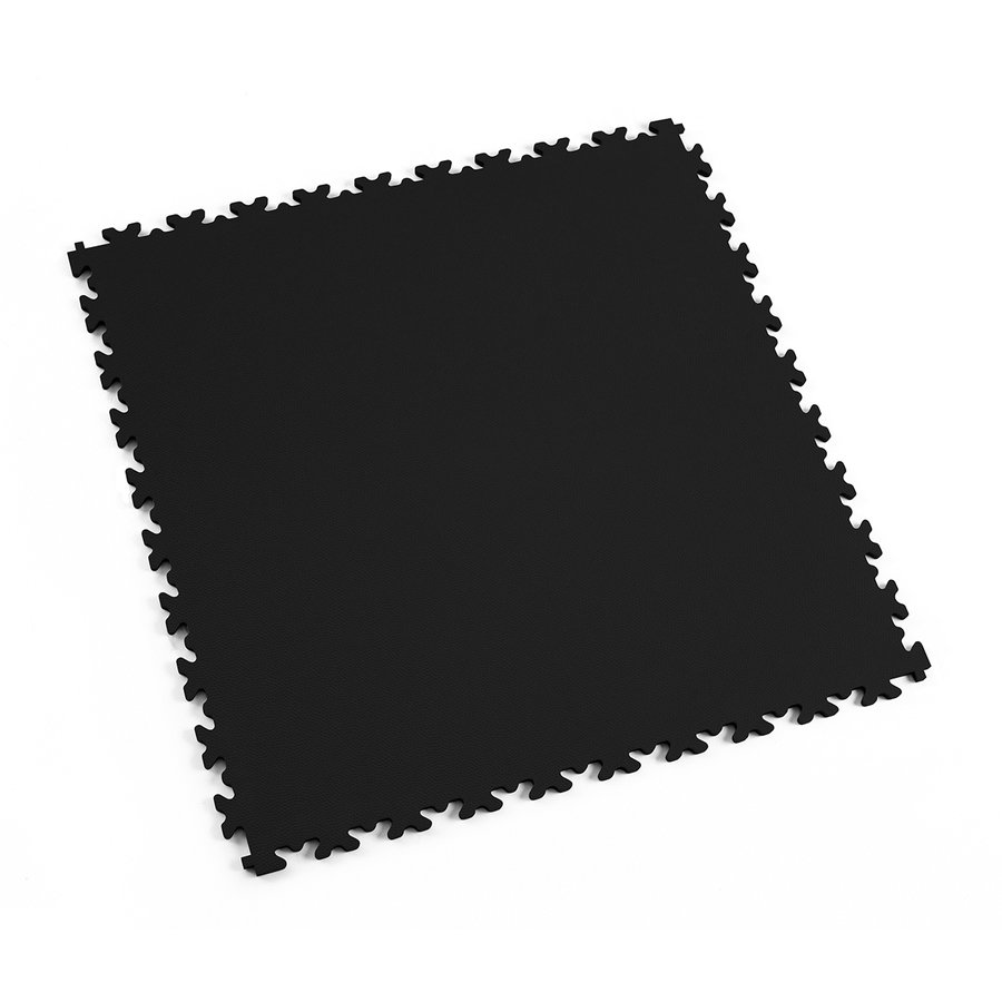 Černá vinylová plastová zátěžová dlaždice Fortelock Industry 2020 (kůže) - délka 51 cm, šířka 51 cm a výška 0,7 cm