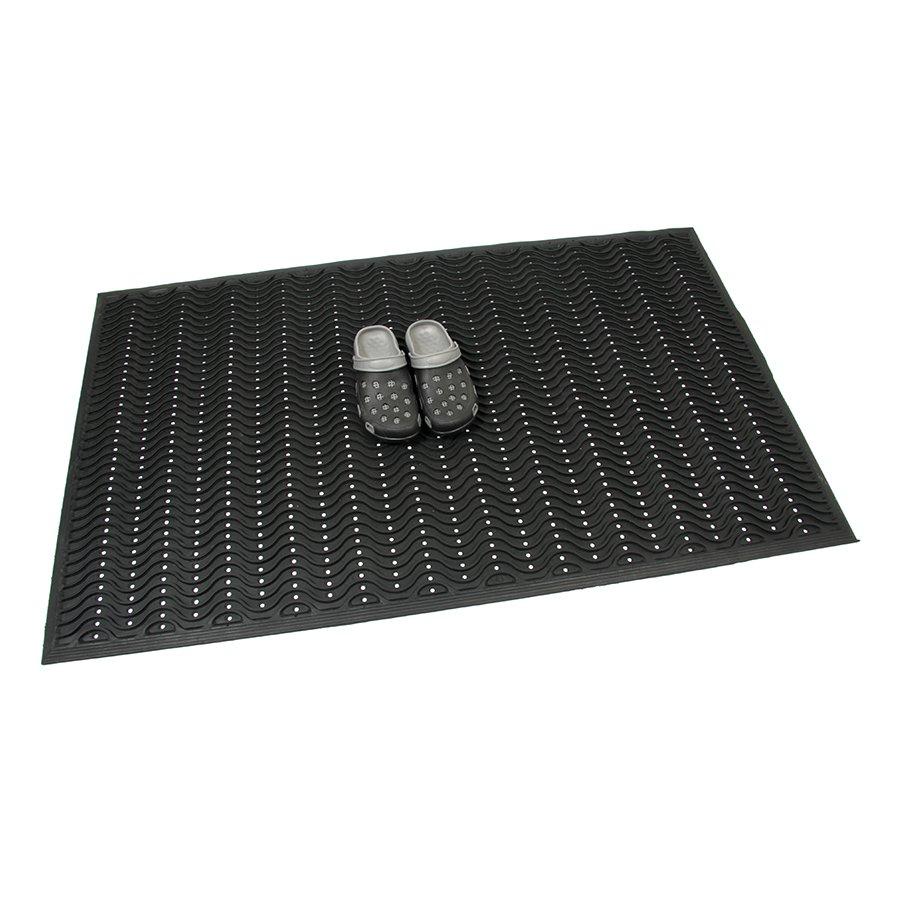 Gumová vstupní děrovaná čistící rohož Waves, FLOMA - délka 90 cm, šířka 150 cm a výška 1,2 cm