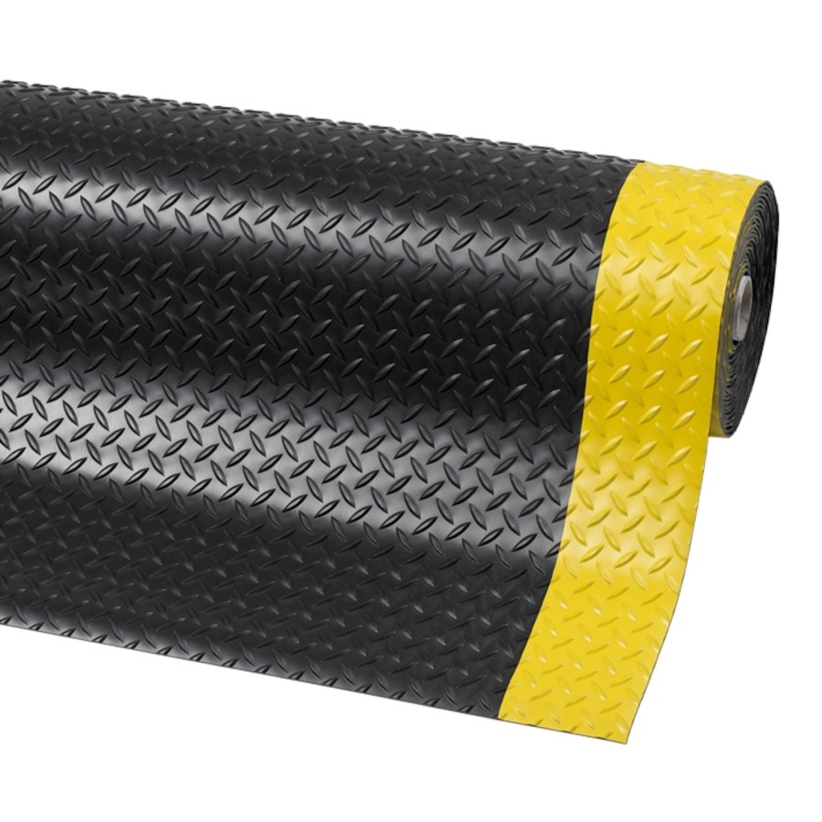 Černo-žlutá metrážová protiskluzová rohož Diamond Plate Runner - délka 1 cm a výška 0,47 cm