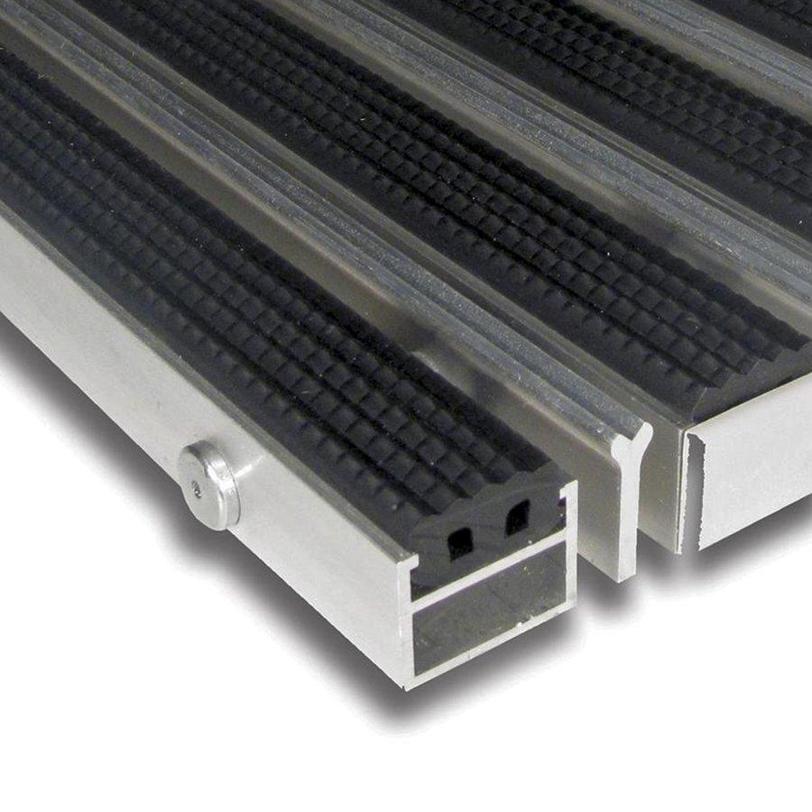 Gumová hliníková kartáčová venkovní vstupní rohož Alu Extra, FLOMA - výška 2,7 cm