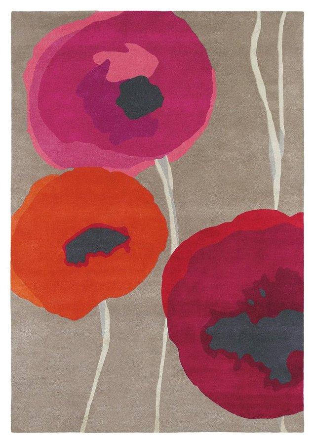 Červený kusový moderní koberec Poppies