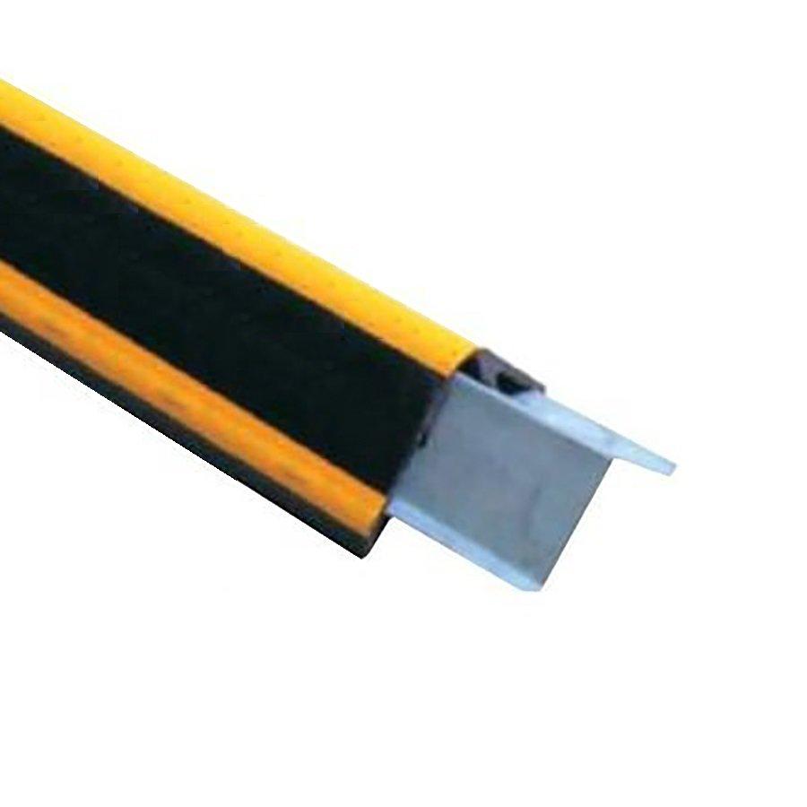 Černo-žlutý gumový ochranný pás s výztuhou (roh) - délka 100 cm, šířka 10 cm a tloušťka 1,5 cm