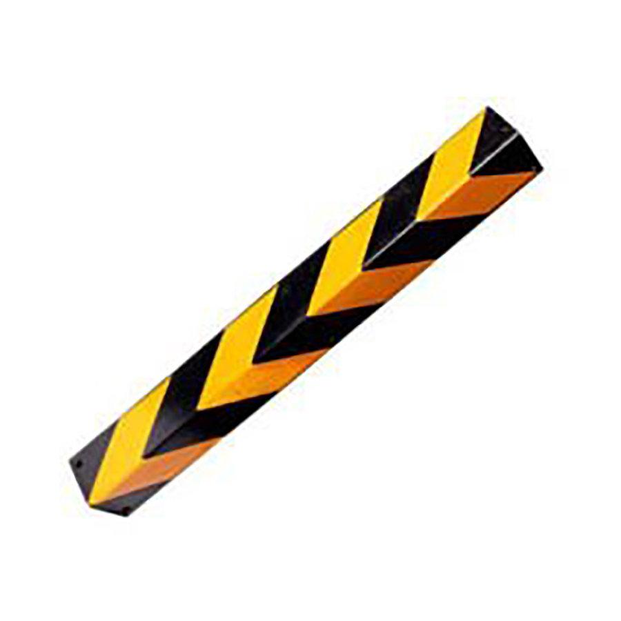 Černo-žlutý gumový reflexní roh (hranatý profil) na ochranu stěn - délka 80 cm, šířka 10 cm a tloušťka 1 cm