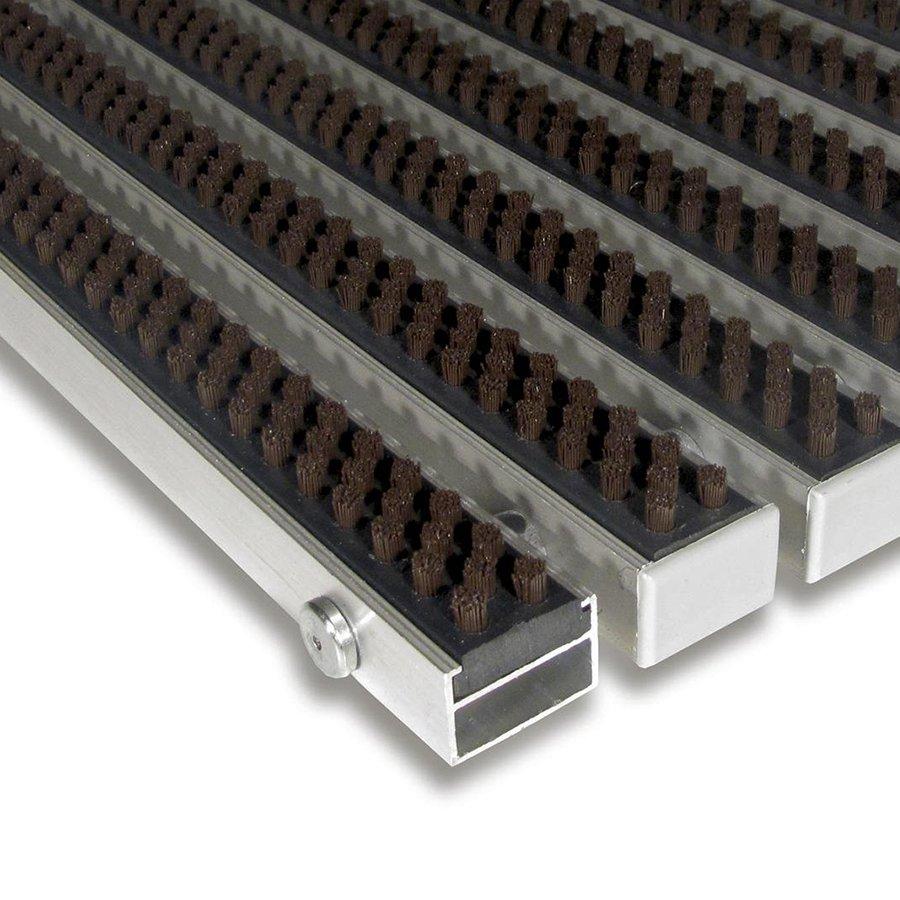 Hnědá hliníková kartáčová venkovní vstupní rohož Alu Super, FLOMA - výška 2,2 cm