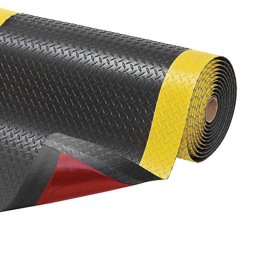 Černo-žlutá protiúnavová průmyslová laminovaná rohož Cushion Trax - výška 1,4 cm