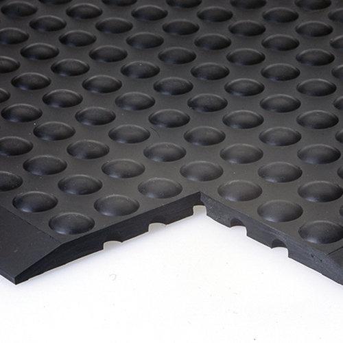 Černá gumová průmyslová protiúnavová olejivzdorná rohož (25% nitrilová pryž) - délka 90 cm, šířka 60 cm a výška 1,4 cm