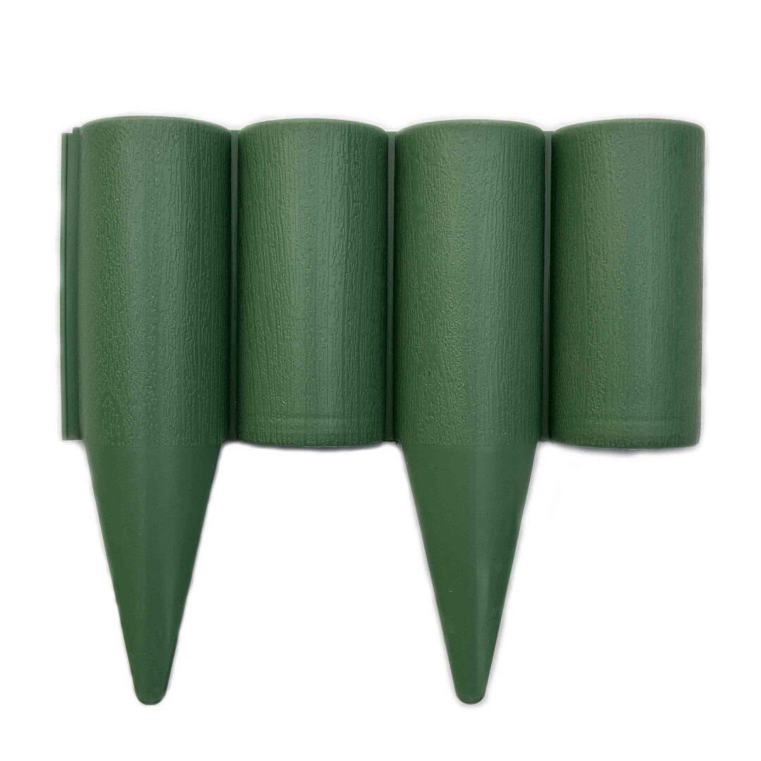Zelený plastový palisádový zahradní obrubník Wood - délka 25 cm a výška 12,5 cm