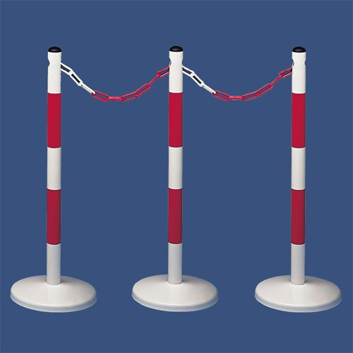 Bílo-červený kovový vymezovací sloupek - průměr 5 cm a výška 90 cm