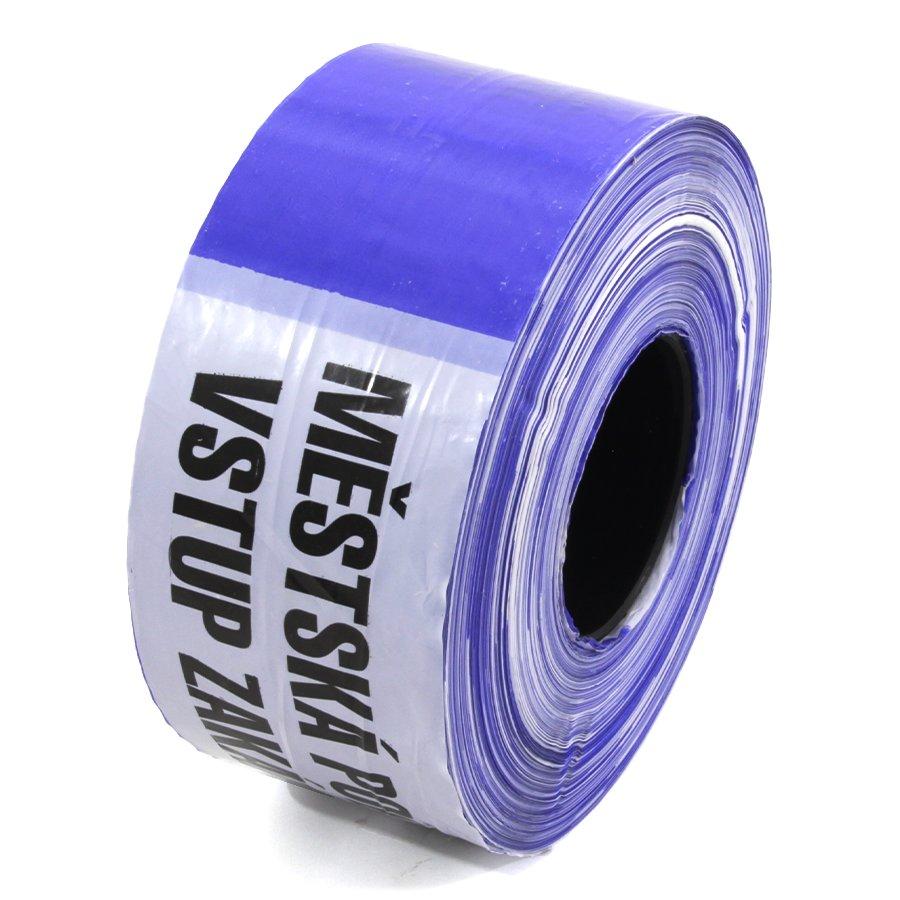 """Bílo-modrá vytyčovací páska """"MĚSTSKÁ POLICIE - VSTUP ZAKÁZÁN"""" - délka 500 m a šířka 8 cm"""