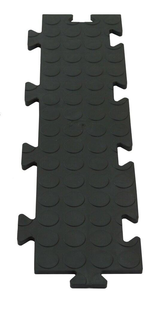 Černá PVC vinylová zátěžová puzzle protiskluzová spojovací dlaždice Tenax - délka 50 cm, šířka 12 cm a výška 0,8 cm