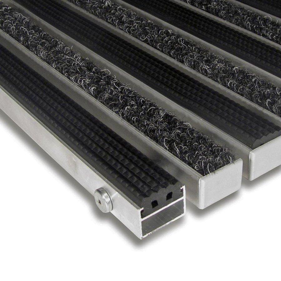 Textilní gumová hliníková vnitřní vstupní rohož Alu Standard, FLOMAT (Bfl-S1) - délka 1 cm, šířka 1 cm a výška 2,2 cm