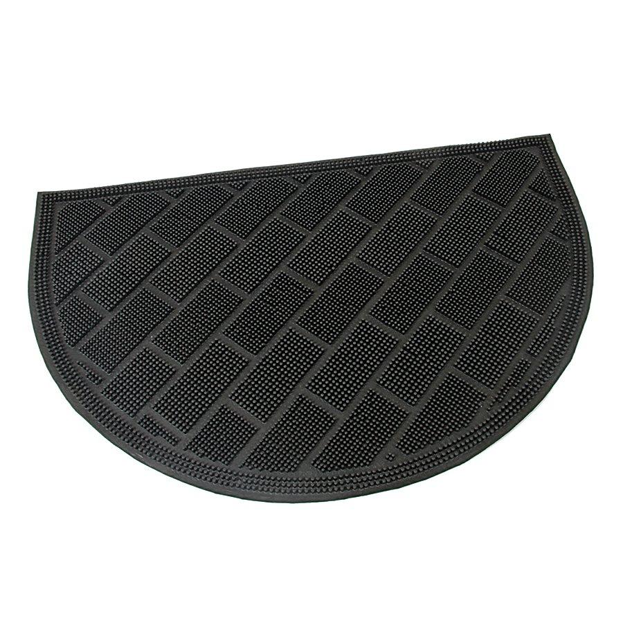 Gumová čistící venkovní vstupní půlkruhová rohož Brick Wall, FLOMAT - délka 40 cm, šířka 60 cm a výška 0,9 cm