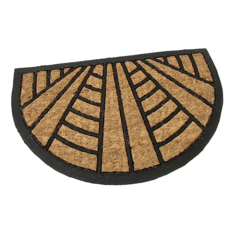 Kokosová čistící venkovní vstupní půlkruhová rohož Stripes - Lines, FLOMAT - délka 40 cm, šířka 60 cm a výška 0,8 cm