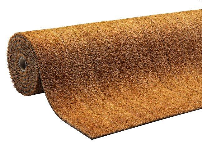 Béžová kokosová vstupní vnitřní čistící metrážová rohož Natural Coco, FLOMA - šířka 100 cm a výška 1,7 cm