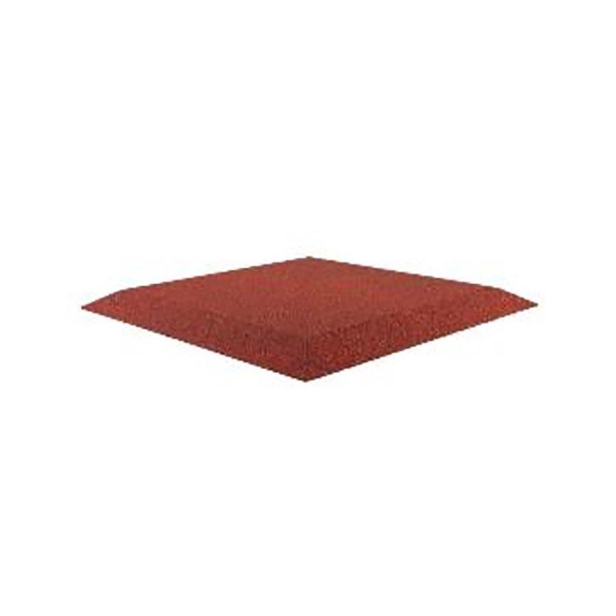 Červená gumová krajová dopadová dlaždice (roh) (V45/R00) FLOMA - délka 50 cm, šířka 50 cm a výška 4,5 cm