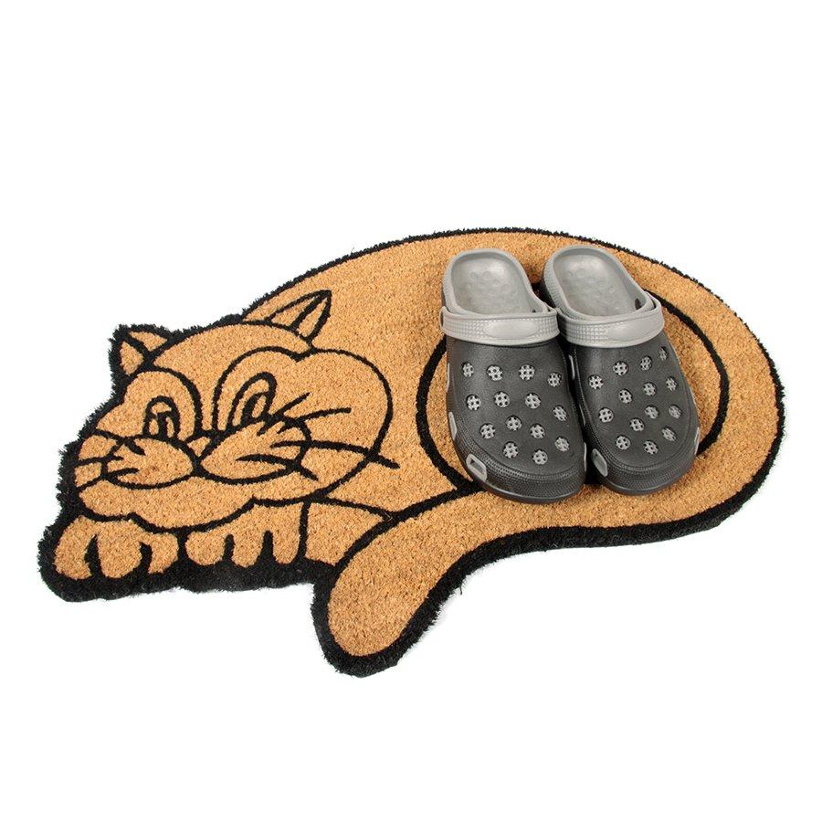Kokosová vstupní venkovní čistící rohož Happy Cat, FLOMA - délka 45 cm, šířka 75 cm a výška 1,7 cm