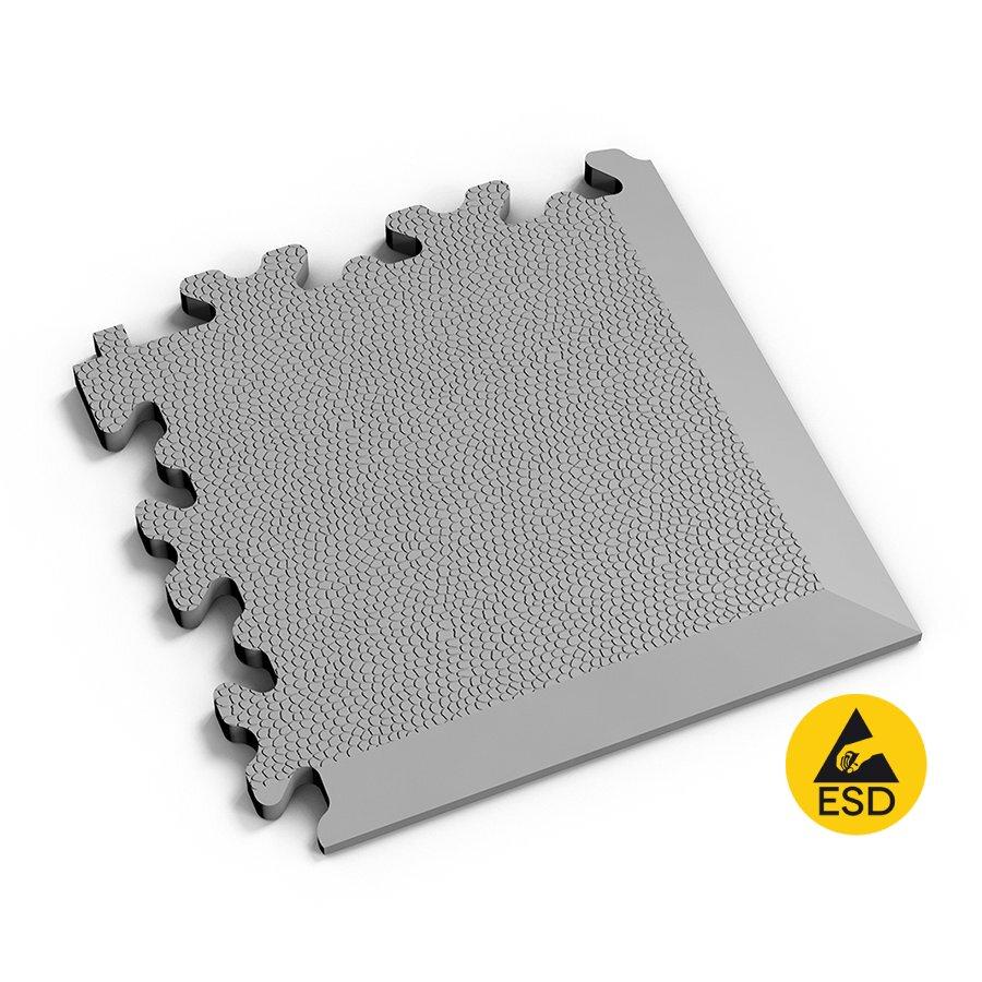 Šedý vinylový plastový rohový nájezd Fortelock Industry ESD 2026 (kůže) - délka 14,5 cm, šířka 14,5 cm a výška 0,7 cm