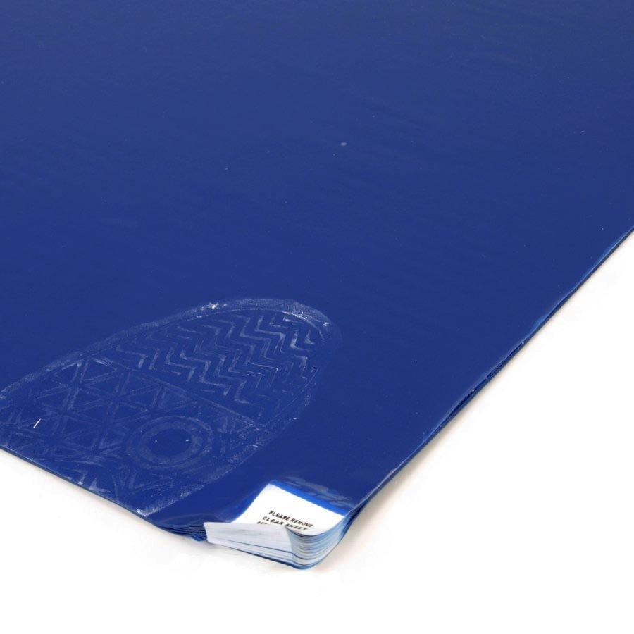 Modrá dezinfekční lepící antibakteriální dekontaminační rohož Antibacterial Sticky Mat, FLOMA - délka 45 cm - 60 listů