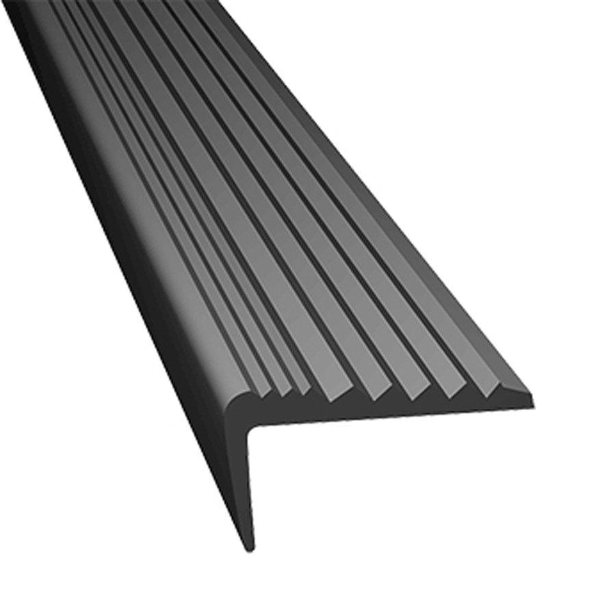 Šedá gumová schodová protiskluzová hrana - délka 5 m, šířka 4,7 cm a výška 2,1 cm