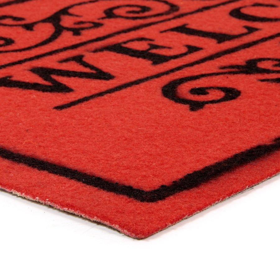 Červená textilní vstupní čistící vnitřní rohož Welcome - Deco, FLOMA - délka 33 cm, šířka 58 cm a výška 0,3 cm