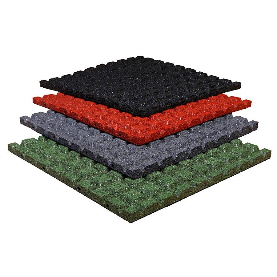 Černá gumová dopadová dlaždice (V25/R15) FLOMA - délka 50 cm, šířka 50 cm a výška 2,5 cm