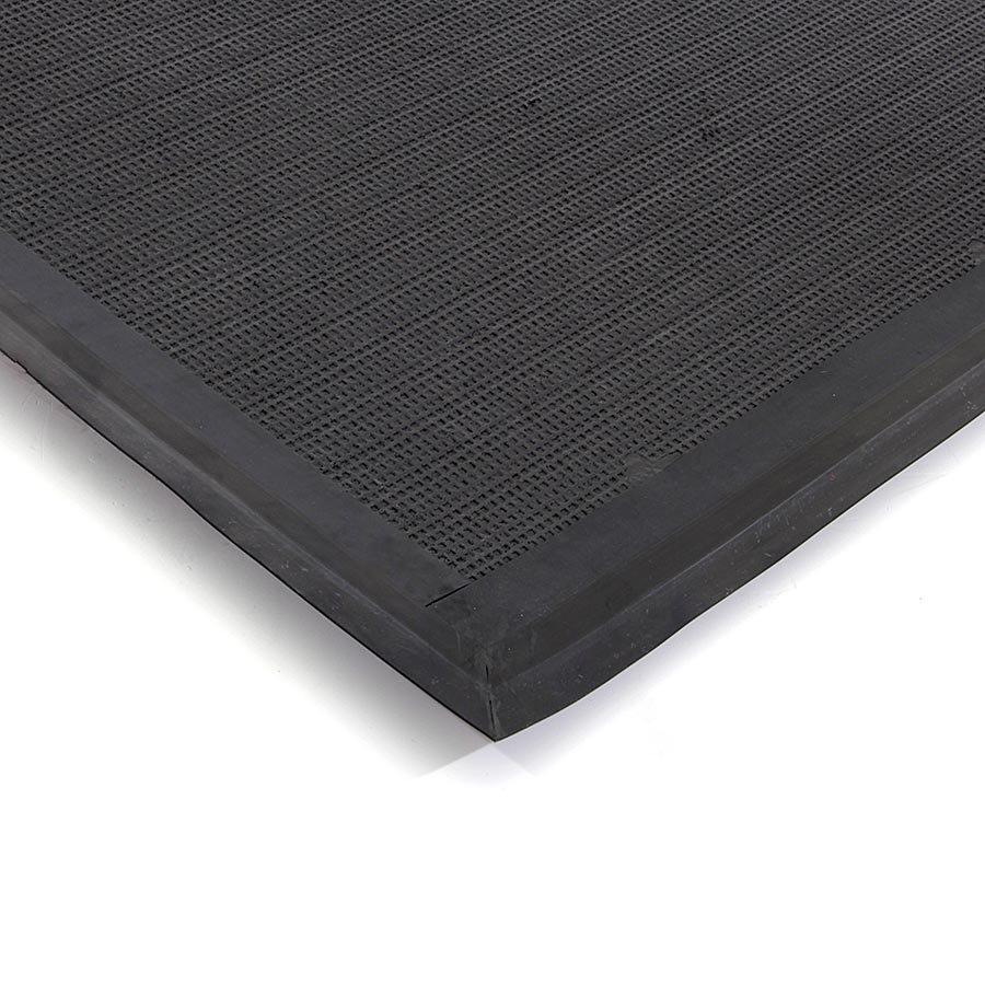 Černá textilní zátěžová čistící vnitřní vstupní rohož Catrine, FLOMA - délka 100 cm, šířka 150 cm a výška 1,35 cm