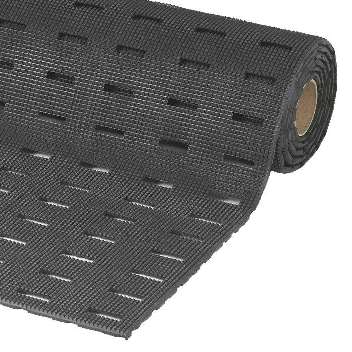 Černá olejivzdorná protiskluzová protiúnavová průmyslová rohož - výška 1,1 cm