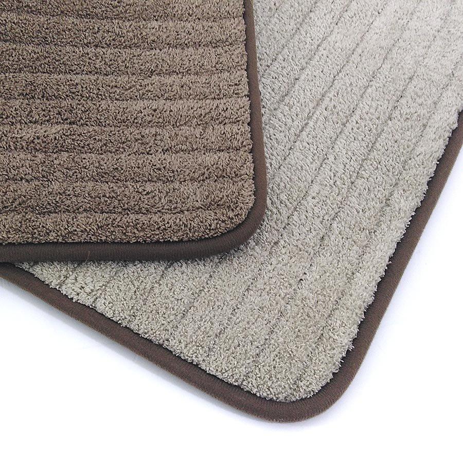 Béžová textilní oboustranná pěnová koupelnová předložka - délka 81 cm a šířka 50 cm