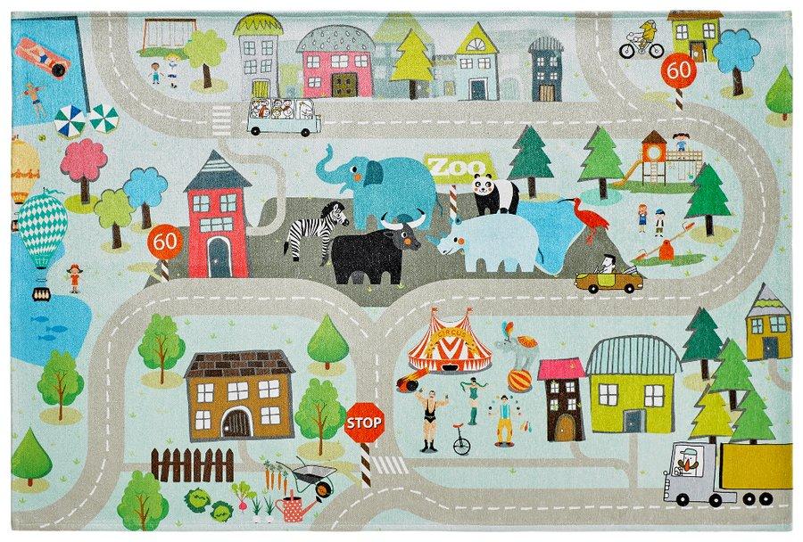 Různobarevný kusový dětský hrací koberec Torino Kids - délka 170 cm a šířka 120 cm