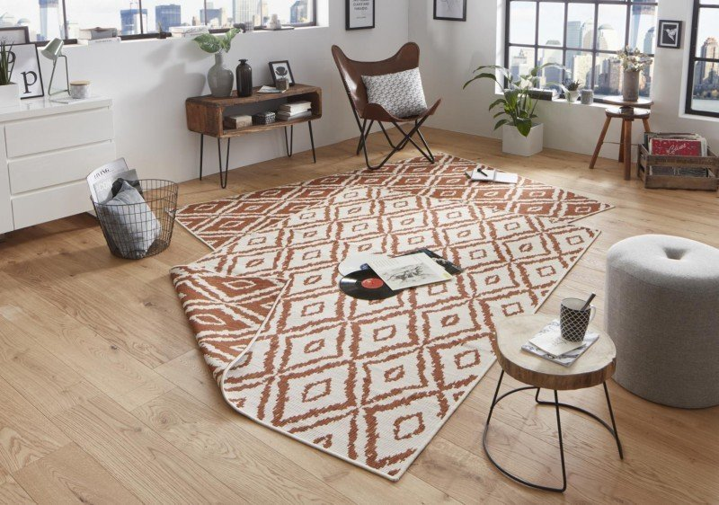 Červený moderní oboustranný kusový koberec Twin-Wendeteppiche - délka 290 cm a šířka 200 cm