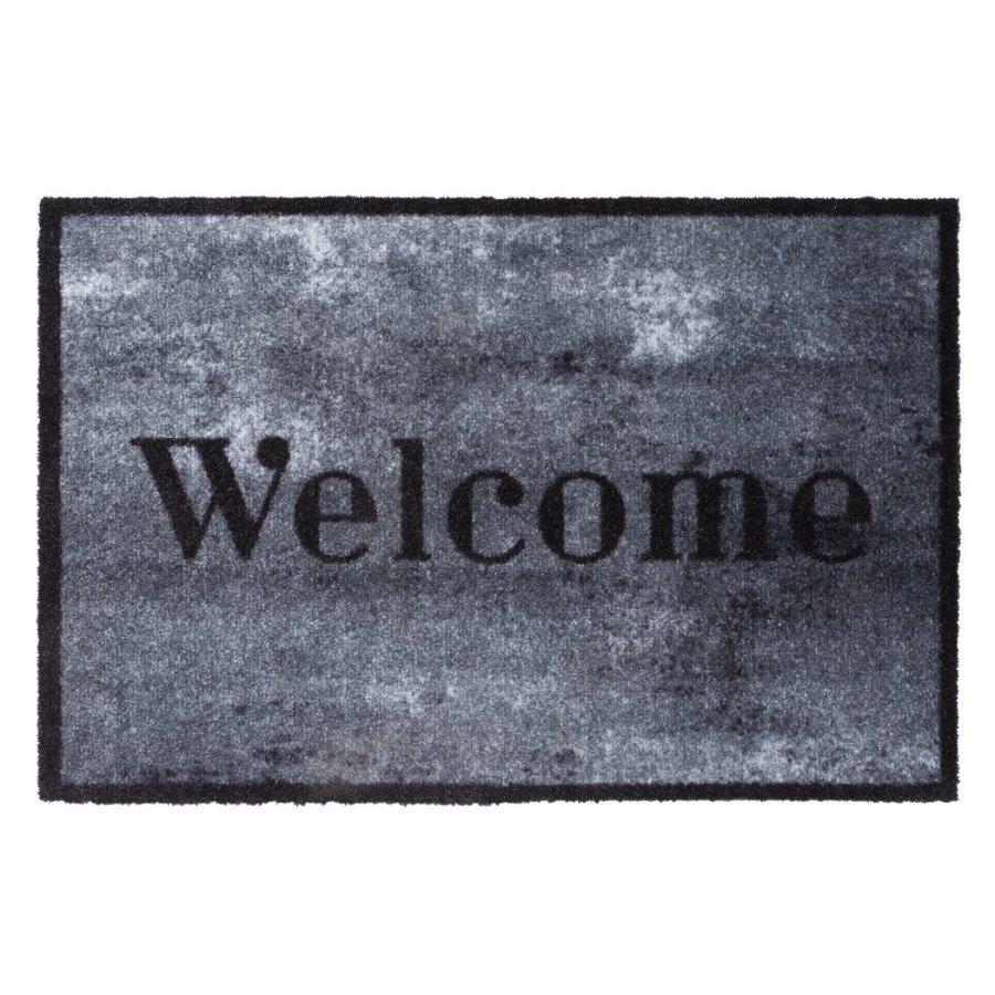 Vnitřní čistící pratelná vstupní rohož FLOMA Prestige Welcome concrete - délka 50 cm a šířka 75 cm