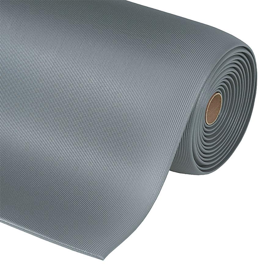 Šedá metrážová protiúnavová průmyslová rohož Sof-Tred, Gripper - délka 1 cm a výška 1,27 cm
