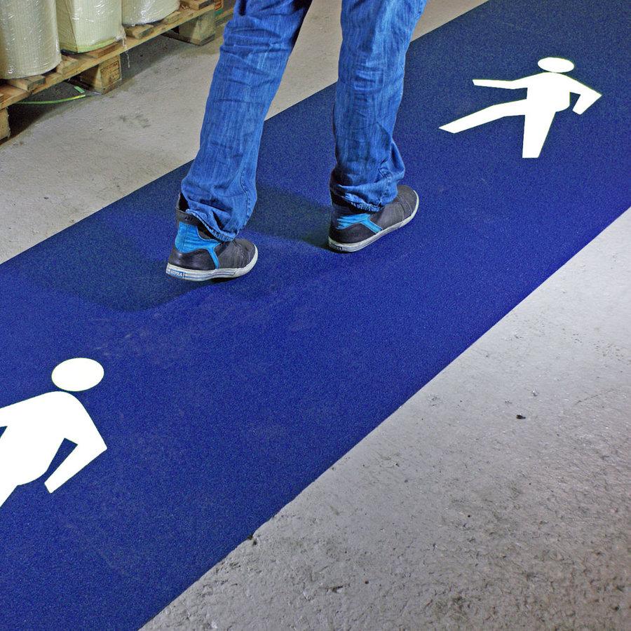 Modrá korundová protiskluzová samolepící podlahová páska (pás) pro pěší koridory - délka 5 m a šířka 100 cm