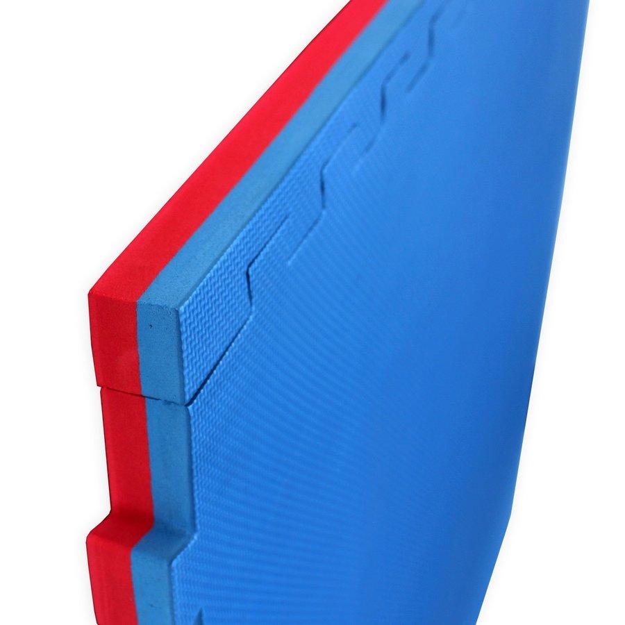 Červeno-modrá oboustranná puzzle Tatami podložka MASTER - délka 100 cm, šířka 100 cm a výška 3 cm