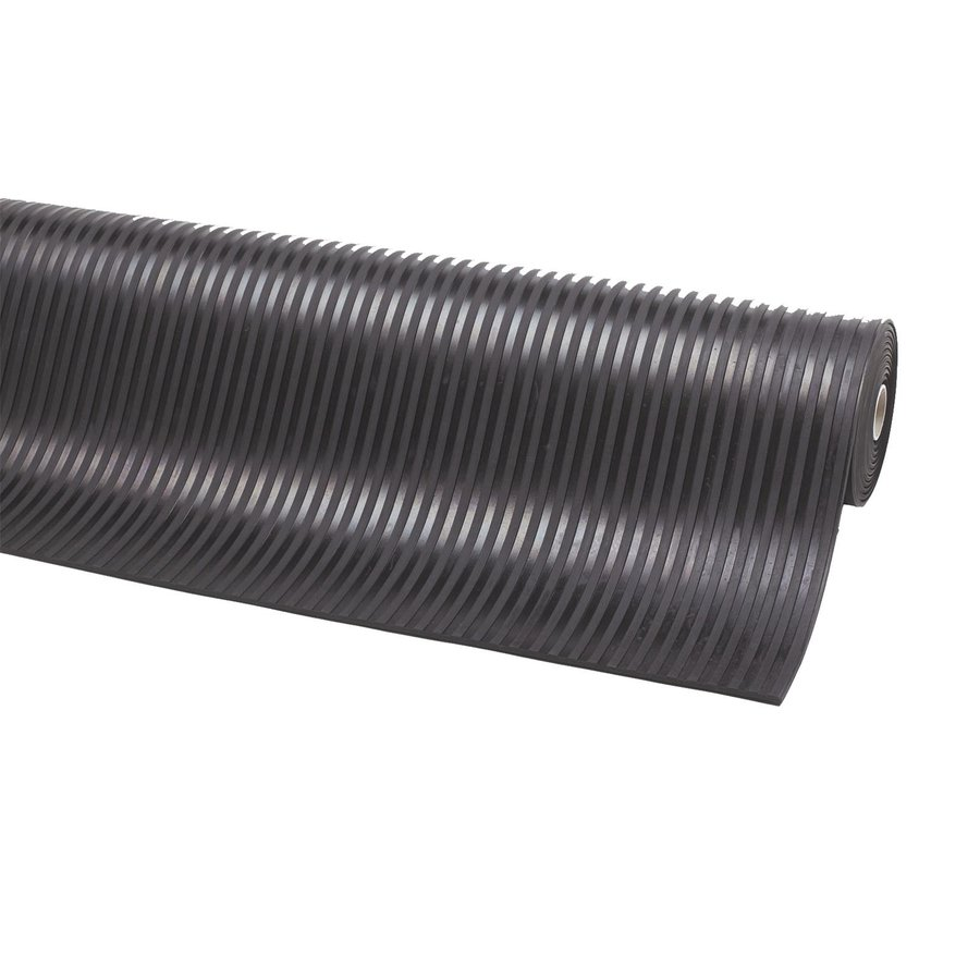Černá gumová metrážová protiskluzová průmyslová rohož - šířka 120 cm a výška 0,35 cm