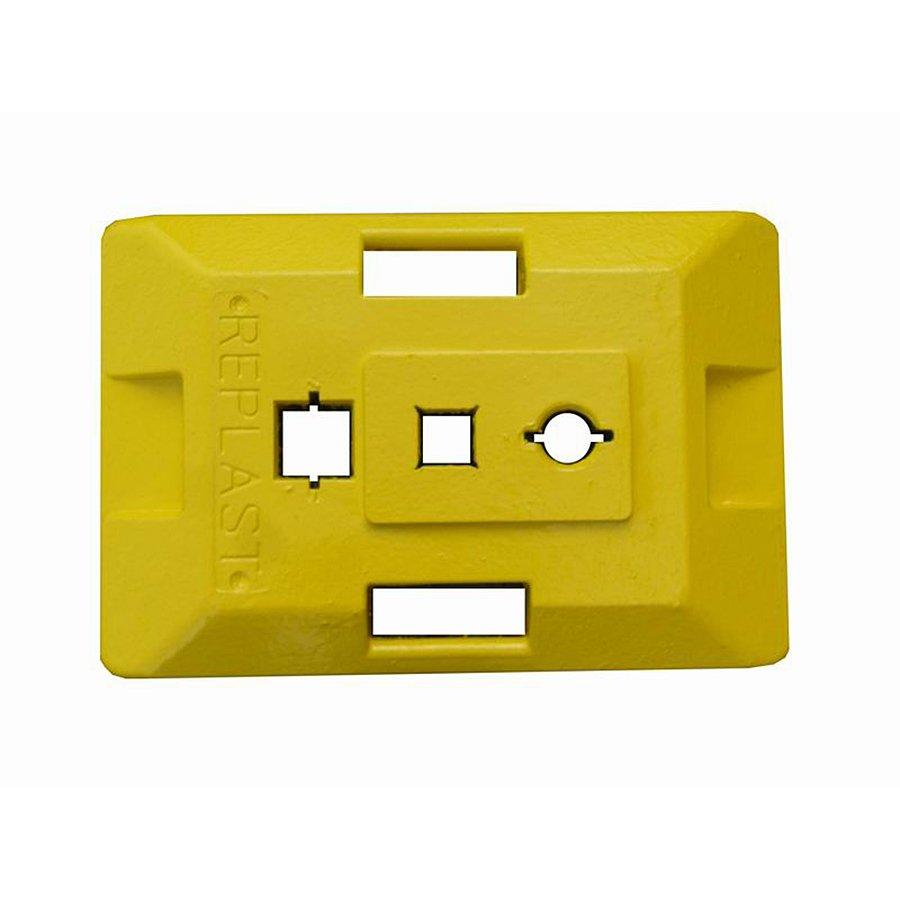 """Žlutý plastový podstavec pod dopravní značky """"CZ 2"""" - délka 59,5 cm, šířka 39,5 cm a výška 9 cm"""