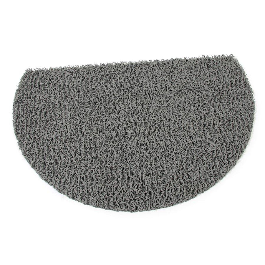 Šedá vinylová protiskluzová sprchová půlkruhová rohož Spaghetti, FLOMAT - délka 40 cm, šířka 59,5 cm a výška 1,2 cm