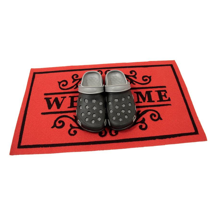 Červená textilní čistící vnitřní vstupní rohož FLOMA Welcome - Deco - délka 45 cm, šířka 75 cm a výška 0,3 cm