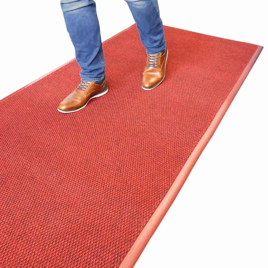 Červená textilní vnitřní čistící zátěžová vstupní rohož Perla - délka 250 cm, šířka 100 cm a výška 1,2 cm