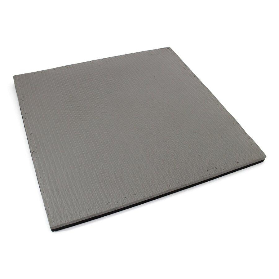 Černo-šedé oboustranné puzzle modulové tatami - délka 100 cm, šířka 100 cm a výška 4 cm