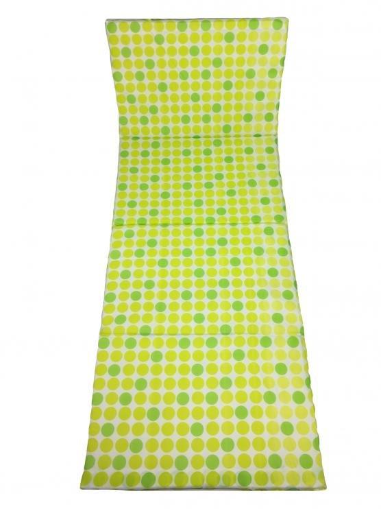 Žluto-zelená plážové skládací lehátko - délka 165 cm, šířka 50 cm a výška 1,5 cm