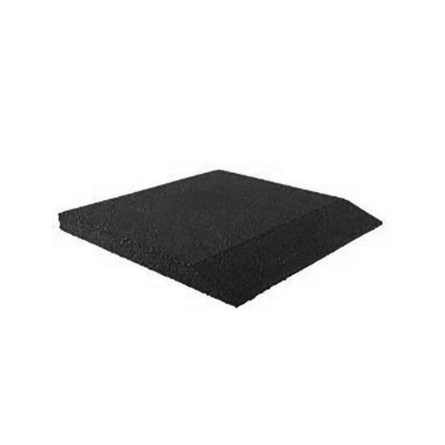 Černá gumová krajová dopadová dlaždice (V65/R00) FLOMA - délka 50 cm, šířka 50 cm a výška 6,5 cm