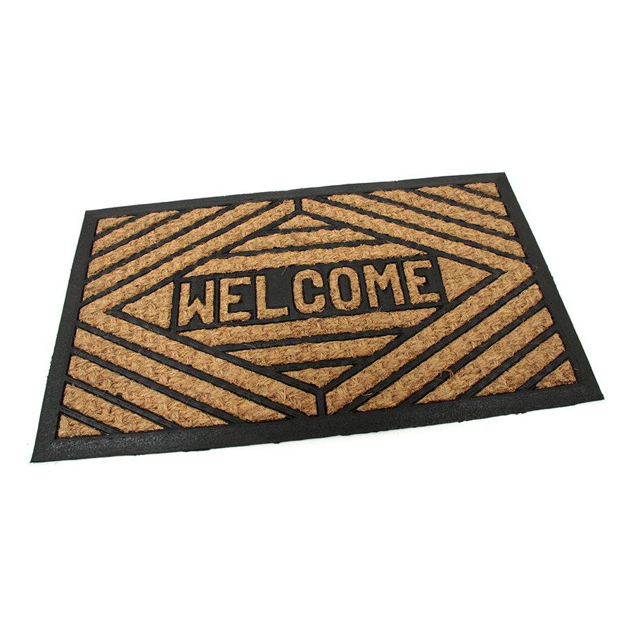 Kokosová čistící venkovní vstupní rohož Welcome - Rectangle, FLOMA - délka 45 cm, šířka 75 cm a výška 0,8 cm